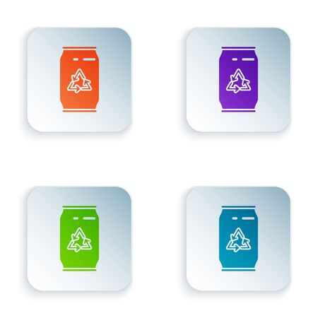 Color Can with recycle symbol and can icon isolated on white background. Trash can icon. Garbage bin sign. Recycle basket sign. Set icons in colorful square buttons. Vector Illustration