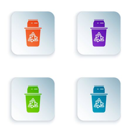 Color Recycle bin with recycle symbol and can icon isolated on white background. Trash can icon. Garbage bin sign. Recycle basket sign. Set icons in colorful square buttons. Vector Illustration  イラスト・ベクター素材