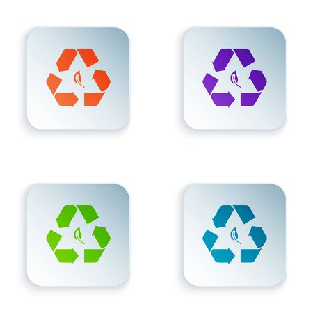 Color Recycle symbol and leaf icon isolated on white background. Environment recyclable go green. Set icons in colorful square buttons. Vector Illustration Zdjęcie Seryjne - 129528462