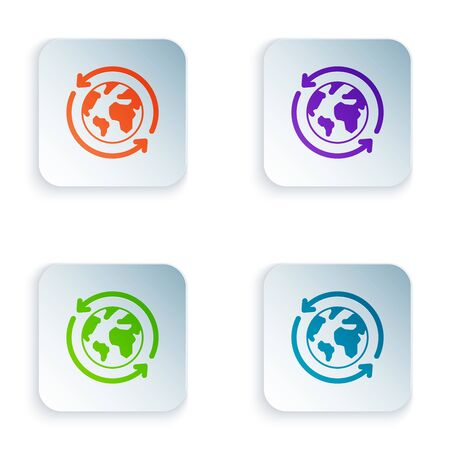Color Planet earth and a recycling icon isolated on white background. Environmental concept. Set icons in colorful square buttons. Vector Illustration