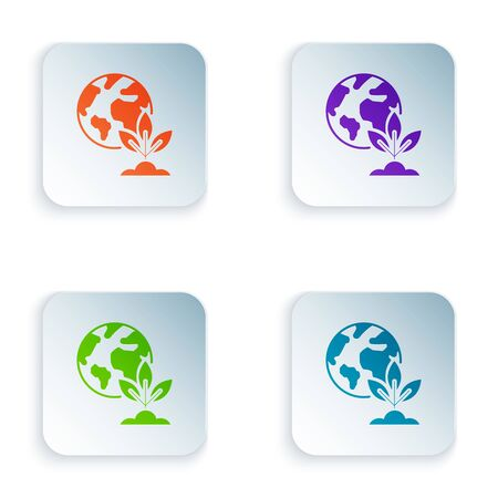 Color Earth globe and plant icon isolated on white background. World or Earth sign. Geometric shapes. Environmental concept. Set icons in colorful square buttons. Vector Illustration Ilustracja