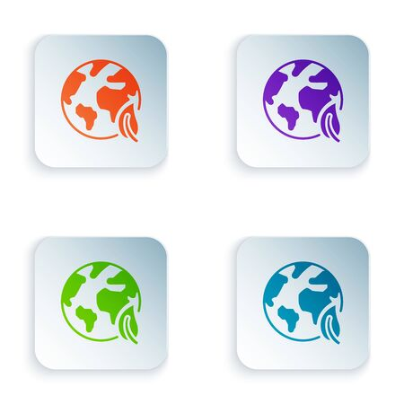 Color Earth globe and leaf icon isolated on white background. World or Earth sign. Geometric shapes. Environmental concept. Set icons in colorful square buttons. Vector Illustration Ilustracja