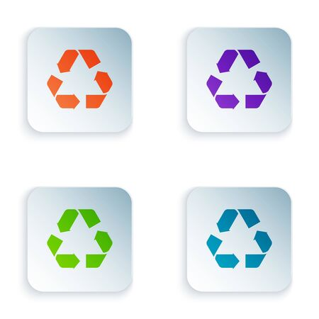 Color Recycle symbol icon isolated on white background. Circular arrow icon. Environment recyclable go green. Set icons in colorful square buttons. Vector Illustration