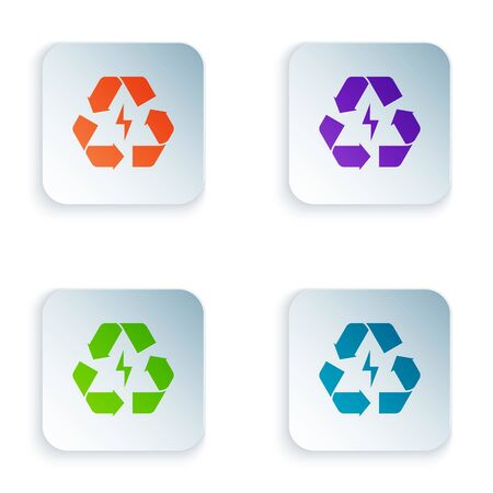 Color Battery with recycle symbol line icon isolated on white background. Battery with recycling symbol - renewable energy concept. Set icons in colorful square buttons. Vector Illustration Illustration