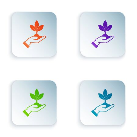 Color Plant in hand of environmental protection icon isolated on white background. Seed and seedling. Planting sapling. Ecology concept. Set icons in colorful square buttons. Vector Illustration Zdjęcie Seryjne - 129528473