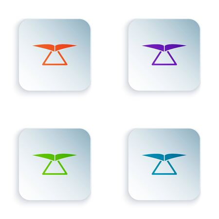 Color Hang glider icon isolated on white background. Extreme sport. Set icons in colorful square buttons. Vector Illustration Ilustracja