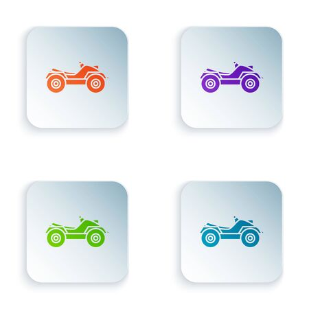 Color All Terrain Vehicle or ATV motorcycle icon isolated on white background. Quad bike. Extreme sport. Set icons in colorful square buttons. Vector Illustration