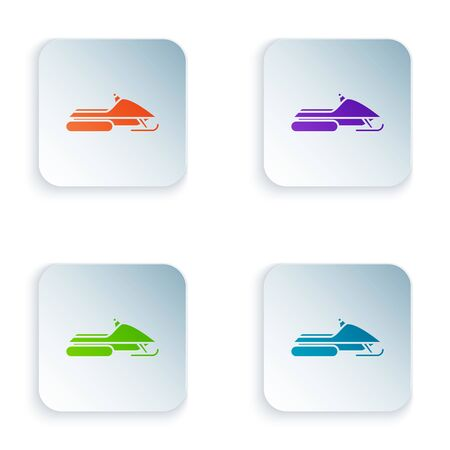 Color Snowmobile icon isolated on white background. Snowmobiling sign. Extreme sport. Set icons in colorful square buttons. Vector Illustration