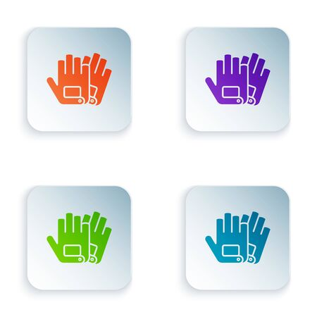 Color Gloves icon isolated on white background. Extreme sport. Sport equipment. Set icons in colorful square buttons. Vector Illustration