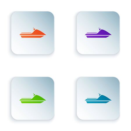 Color Jet ski icon isolated on white background. Water scooter. Extreme sport. Set icons in colorful square buttons. Vector Illustration Ilustracja