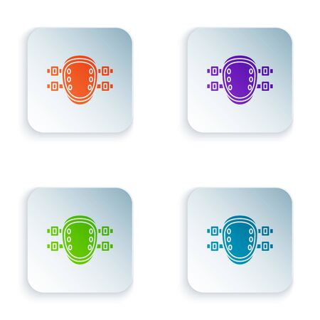 Color Knee pads icon isolated on white background. Extreme sport. Sport equipment. Skateboarding, bicycle, roller skating protective gear. Set icons in colorful square buttons. Vector Illustration