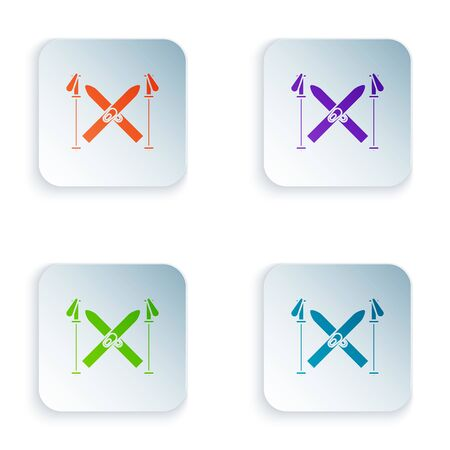 Color Ski and sticks icon isolated on white background. Extreme sport. Skiing equipment. Winter sports icon. Set icons in colorful square buttons. Vector Illustration