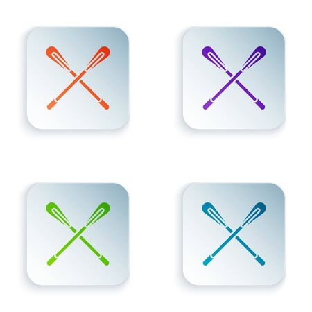 Color Crossed paddle icon isolated on white background. Paddle boat oars. Set icons in colorful square buttons. Vector Illustration Çizim
