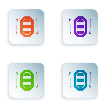 Color Rafting boat icon isolated on white background. Inflatable boat with paddles. Water sports, extreme sports, holiday, vacation. Set icons in colorful square buttons. Vector Illustration