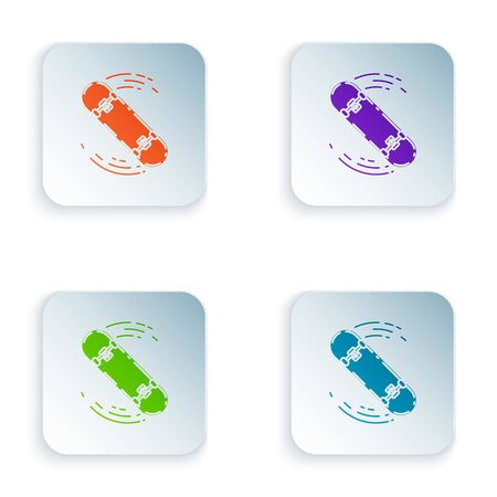 Color Skateboard trick icon isolated on white background. Extreme sport. Sport equipment. Set icons in colorful square buttons. Vector Illustration Zdjęcie Seryjne - 129528479