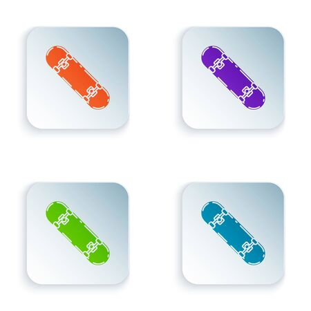 Color Skateboard trick icon isolated on white background. Extreme sport. Sport equipment. Set icons in colorful square buttons. Vector Illustration Ilustracja