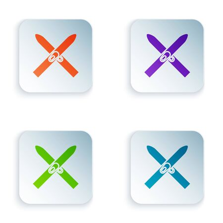 Color Ski and sticks icon isolated on white background. Extreme sport. Skiing equipment. Winter sports icon. Set icons in colorful square buttons. Vector Illustration Archivio Fotografico - 129528500