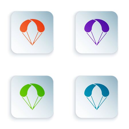 Color Parachute icon isolated on white background. Extreme sport. Sport equipment. Set icons in colorful square buttons. Vector Illustration Zdjęcie Seryjne - 129528499