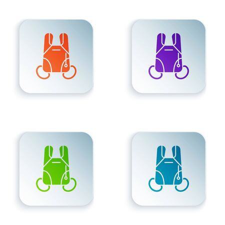 Color Parachute icon isolated on white background. Extreme sport. Sport equipment. Set icons in colorful square buttons. Vector Illustration