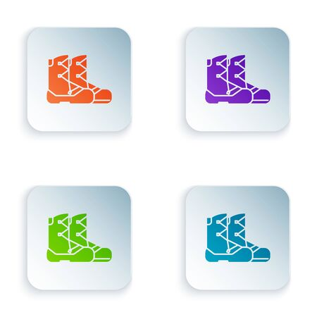 Color Boots icon isolated on white background. Set icons in colorful square buttons. Vector Illustration