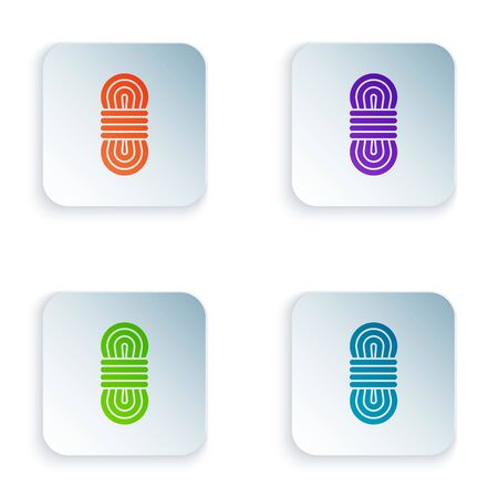 Color Climber rope icon isolated on white background. Extreme sport. Sport equipment. Set icons in colorful square buttons. Vector Illustration