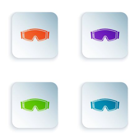 Color Ski goggles icon isolated on white background. Extreme sport. Sport equipment. Set icons in colorful square buttons. Vector Illustration Archivio Fotografico - 129528504