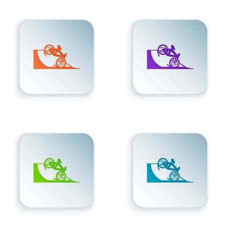 Color Bicycle on street ramp icon isolated on white background. Skate park. Extreme sport. Sport equipment. Set icons in colorful square buttons. Vector Illustration Ilustracja