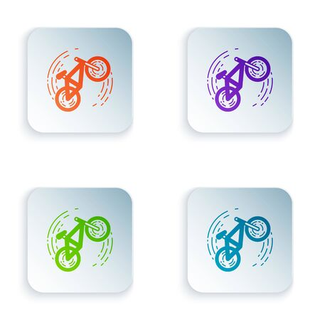 Color Bicycle trick icon isolated on white background. Bike race. Extreme sport. Sport equipment. Set icons in colorful square buttons. Vector Illustration