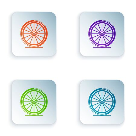 Color Bicycle wheel icon isolated on white background. Bike race. Extreme sport. Sport equipment. Set icons in colorful square buttons. Vector Illustration