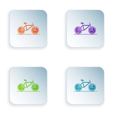 Color Bicycle icon isolated on white background. Bike race. Extreme sport. Sport equipment. Set icons in colorful square buttons. Vector Illustration