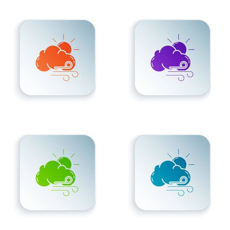 Color Windy weather icon isolated on white background. Sun with cloud and wind. Set icons in colorful square buttons. Vector Illustration Иллюстрация