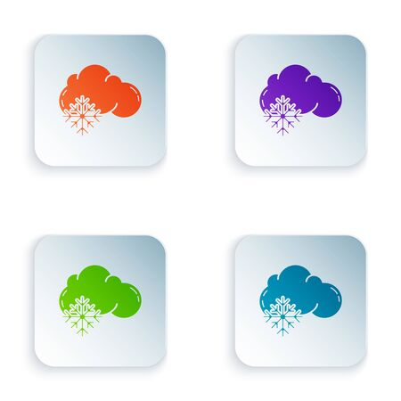 Color Cloud with snow icon isolated on white background. Cloud with snowflakes. Single weather icon. Snowing sign. Set icons in colorful square buttons. Vector Illustration