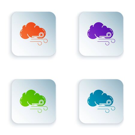 Color Windy weather icon isolated on white background. Cloud and wind. Set icons in colorful square buttons. Vector Illustration Иллюстрация