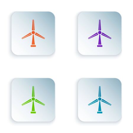 Color Wind turbine icon isolated on white background. Wind generator sign. Windmill silhouette. Windmill for electric power production. Set icons in colorful square buttons. Vector Illustration  イラスト・ベクター素材