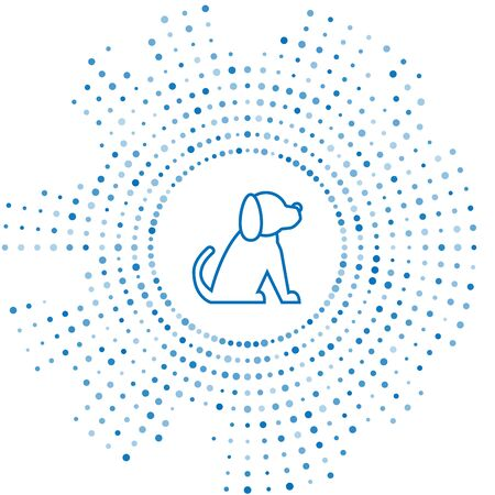 Blue line Dog icon isolated on white background. Abstract circle random dots. Vector Illustration Иллюстрация
