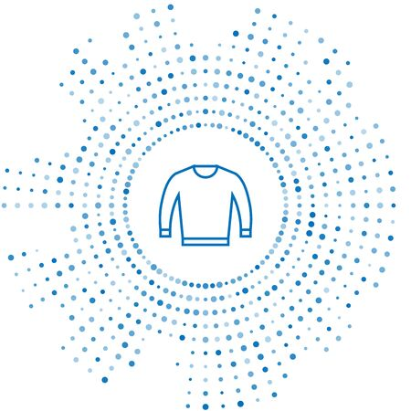 Blue line Sweater icon isolated on white background. Pullover icon. Abstract circle random dots. Vector Illustration