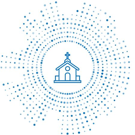 Blue line Church building icon isolated on white background. Christian Church. Religion of church. Abstract circle random dots. Vector Illustration Stock Illustratie