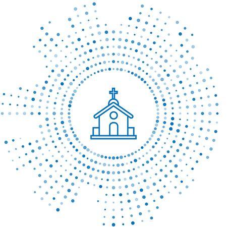 Blue line Church building icon isolated on white background. Christian Church. Religion of church. Abstract circle random dots. Vector Illustration Ilustração