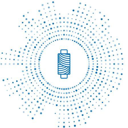 Blue line Sewing thread on spool icon isolated on white background. Yarn spool. Thread bobbin. Abstract circle random dots. Vector Illustration Illustration