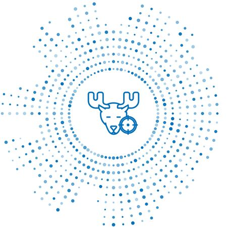 Blue line Hunt on moose with crosshairs icon isolated on white background. Hunting club with moose and target. Rifle lens aiming a moose. Abstract circle random dots. Vector Illustration