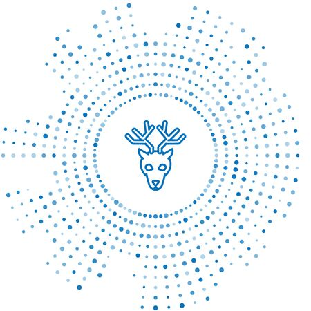 Blue line Deer head with antlers icon isolated on white background. Abstract circle random dots. Vector Illustration Иллюстрация
