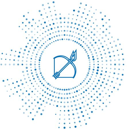 Blue line Bow and fire arrow icon isolated on white background. Abstract circle random dots. Vector Illustration