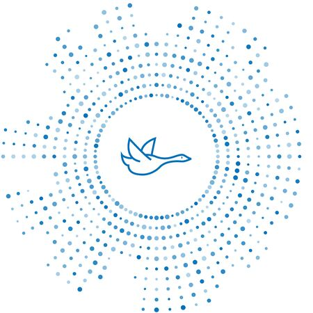 Blue line Flying duck icon isolated on white background. Abstract circle random dots. Vector Illustration
