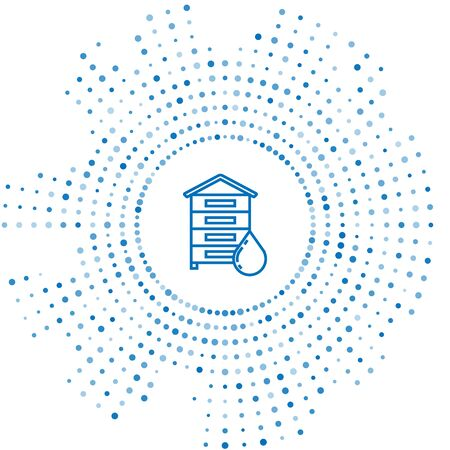 Blue line Hive for bees icon isolated on white background. Beehive symbol. Apiary and beekeeping. Sweet natural food. Abstract circle random dots. Vector Illustration