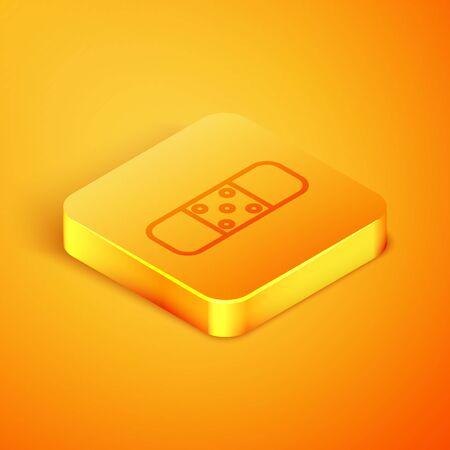 Isometric line Bandage plaster icon isolated on orange background. Medical plaster, adhesive bandage, flexible fabric bandage. Orange square button. Vector Illustration