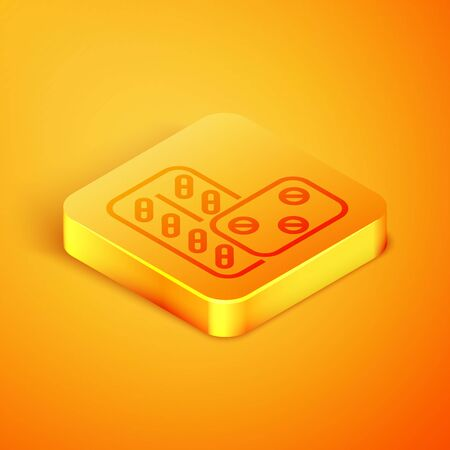 Isometric line Pills in blister pack icon isolated on orange background. Medical drug package for tablet vitamin, antibiotic, aspirin. Orange square button. Vector Illustration Illustration