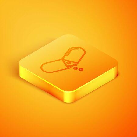 Isometric line Medicine pill or tablet icon isolated on orange background. Capsule pill and drug sign. Pharmacy design. Orange square button. Vector Illustration Ilustração
