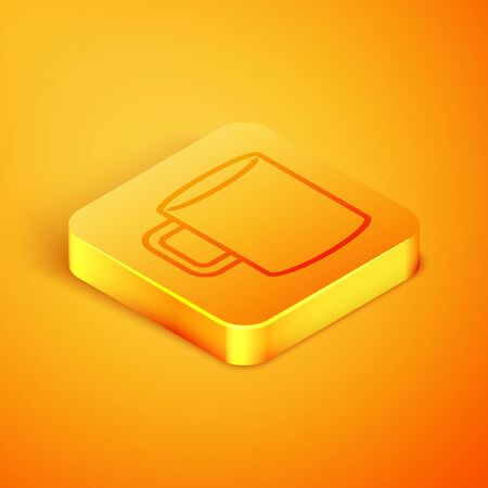 Isometric line Coffee cup flat icon isolated on orange background. Tea cup. Hot drink coffee. Orange square button. Vector Illustration