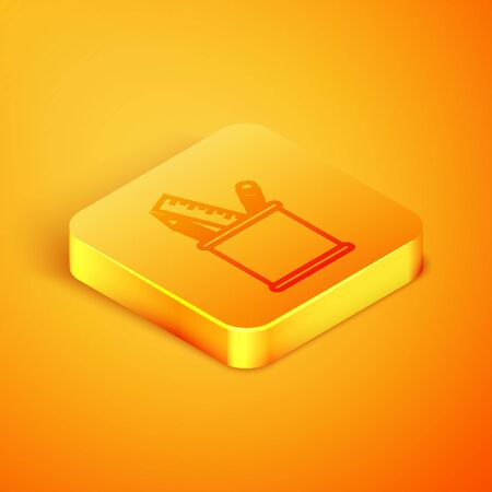 Isometric line Pencil case stationery icon isolated on orange background. Pencil, pen, ruler in a glass for office. Orange square button. Vector Illustration