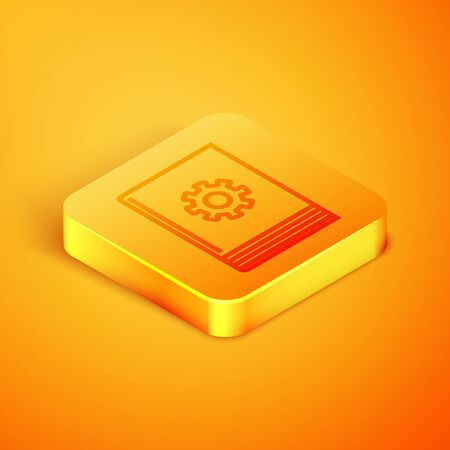 Isometric line User manual icon isolated on orange background. User guide book. Instruction sign. Read before use. Orange square button. Vector Illustration Stock Illustratie